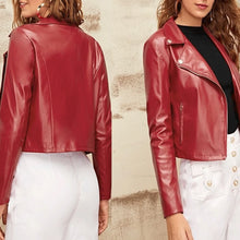 Load image into Gallery viewer, Nitz Zipper Front Notch Collar Biker Jacket