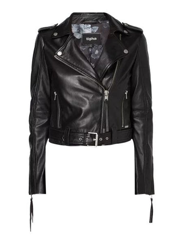 Nitz Leather Jacket in Biker Look – Black