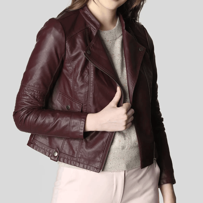 Burgundy Casual Leather jackets