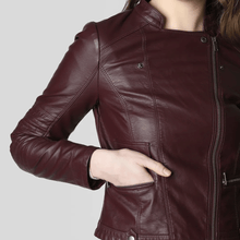 Load image into Gallery viewer, Burgundy Casual Leather jackets