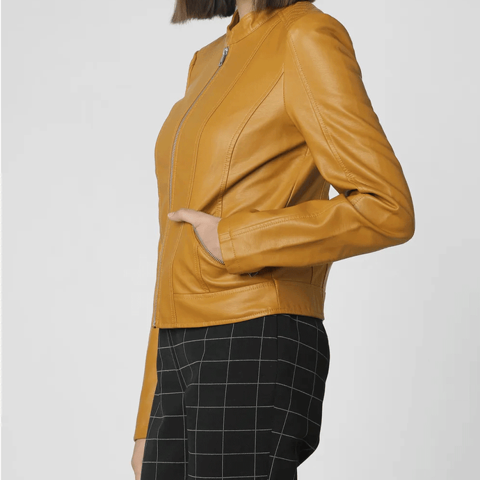 Nitz Mustard Leather Short Jacket