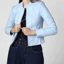Load image into Gallery viewer, Blue leather jackets for women