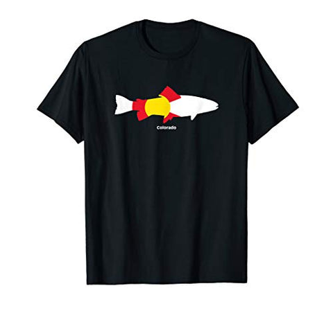 Colorado Flag, Fishing, and Outdoors Graphic Design T-Shirt