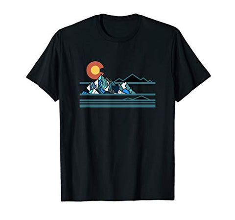 Colorado Geometric Mountains 80's Retro Modern Design T-Shirt