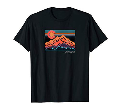 Vintage Colorado Mountain Landscape and Flag Graphic T-Shirt