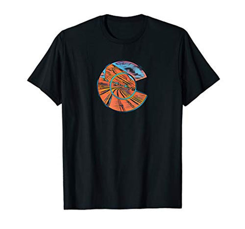 Colorado Red Rocks State Park Colorado Flag C Design T-Shirt