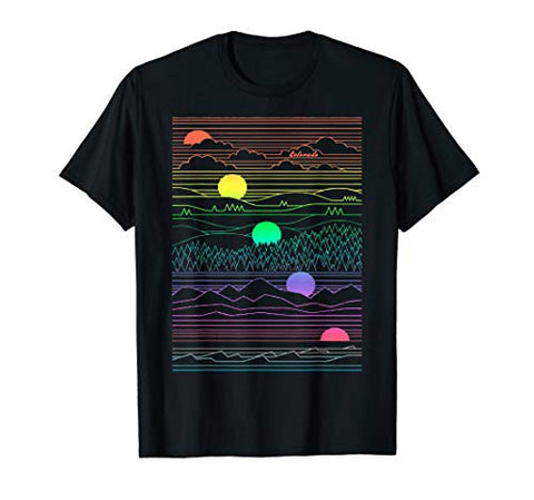 Colorado Mountain Line Art 80's Colorful Colorado Gifts T-Shirt