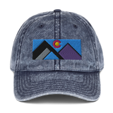 Colorado Geometric Mountains Vintage Cotton Twill Cap
