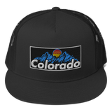 Colorado Mountains Vintage Retro Patch Trucker Cap