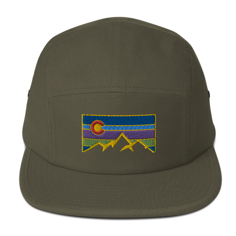 Colorado Mountain Retro Logo Five Panel Cap