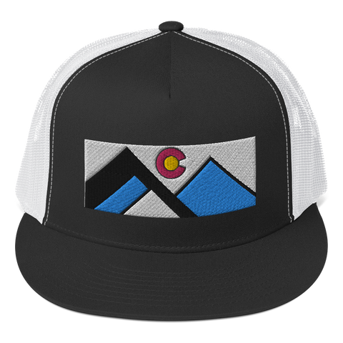 Colorado Minimalist Mountains Classic Flat Bill Trucker Cap