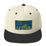 Geometric Colorado Mountains Gold Navy Classic Snapback Hat