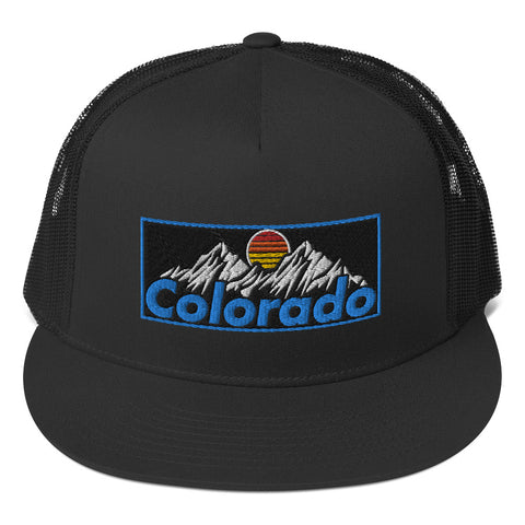 Colorado Mountains Retro Vintage Patch Trucker Cap