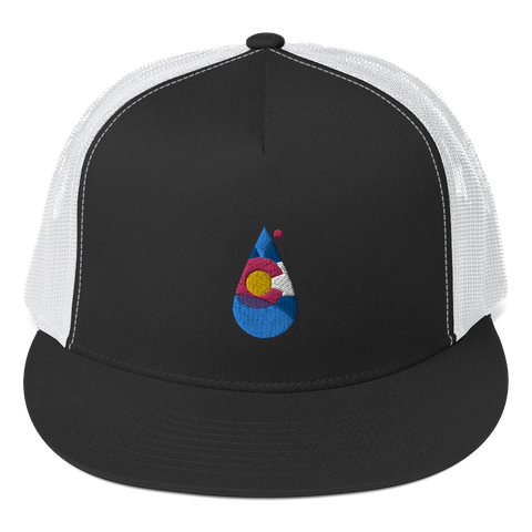 Colorado Rain Drop Flat Bill Trucker Cap