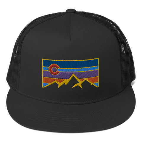 Colorado Flag and Mountains Colorado Underground Retro Vintage Patch Trucker Cap