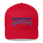 Colorado Retro Mountain Sunset Trucker Cap