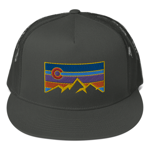Colorado Underground Logo Colorado Flag Mountains Patch Trucker Cap