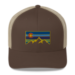 Colorado Mountains Colorful Retro Trucker Cap
