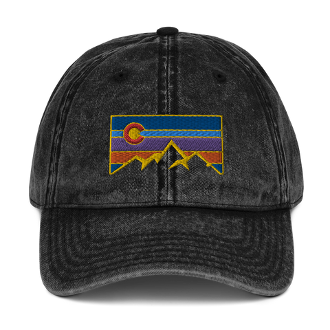 Colorado Mountains Retro Vintage Cotton Twill Cap
