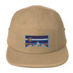 Colorado Mountain Orange and Blue Logo Five Panel Cap