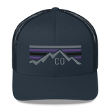 Colorado Mountains Purple Retro Trucker Cap