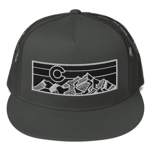 Colorado Geometric Mountain Design Mesh Back Snapback