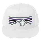 Colorado Retro Mountain Sunset Classic Flat Bill Trucker Cap