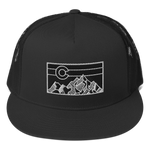 Geometric Colorado Mountains Flat Bill Trucker Cap