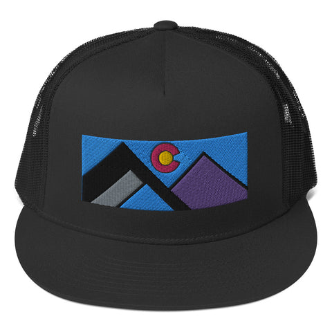 Colorado Mountains Minimalist Design Flat Bill Trucker Cap