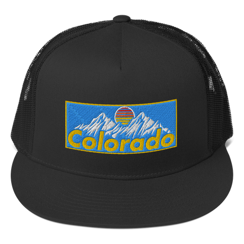 Colorado Mountains Retro Blue Design Patch Trucker Cap