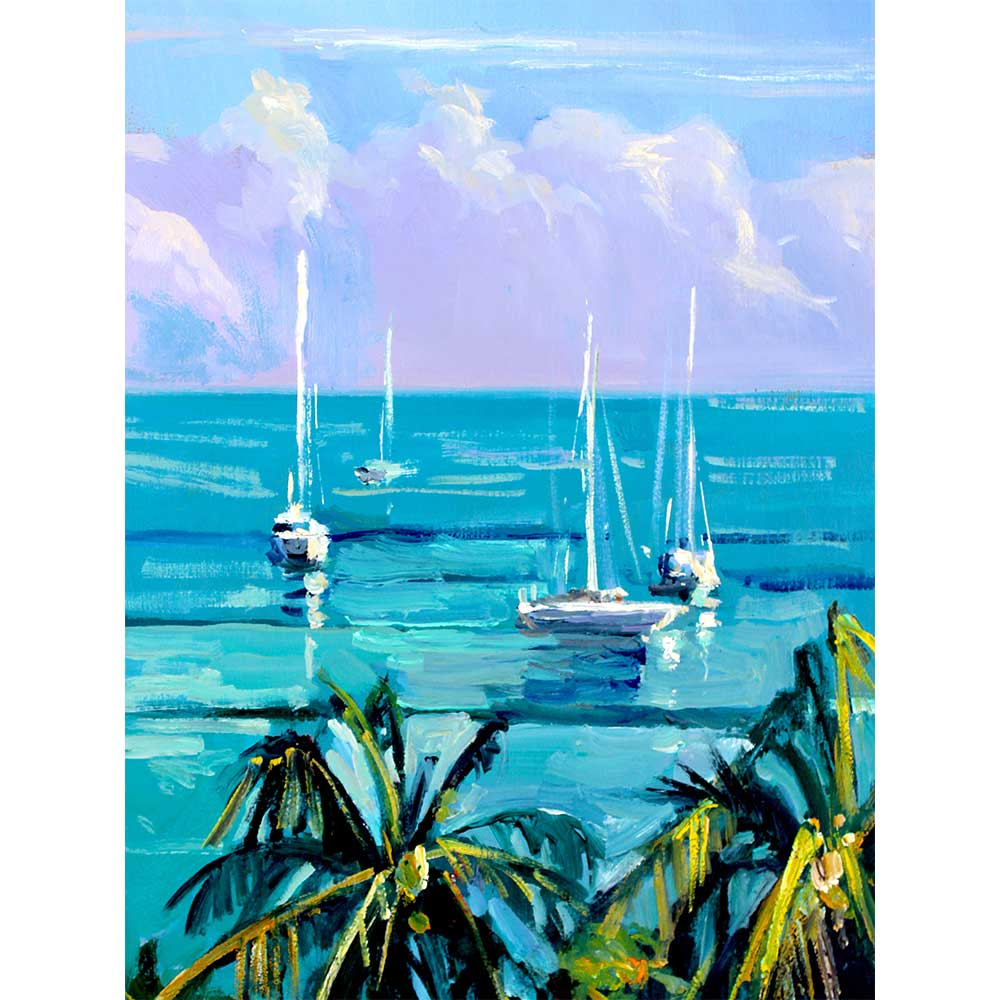 Boats on Blue by Wade Koniakosky | WTK10003