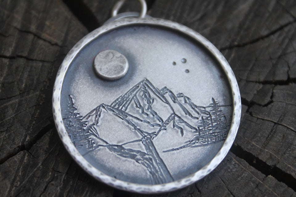Moon and Mountains made of silver pendatn