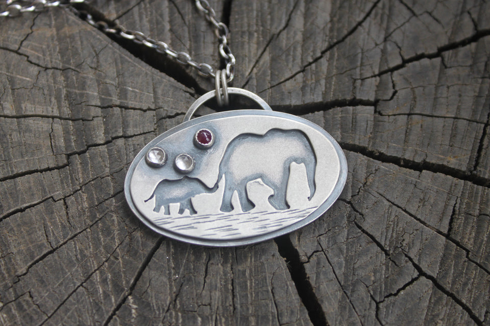 Baby and Momma Elephant Necklace with topaz nda ruby
