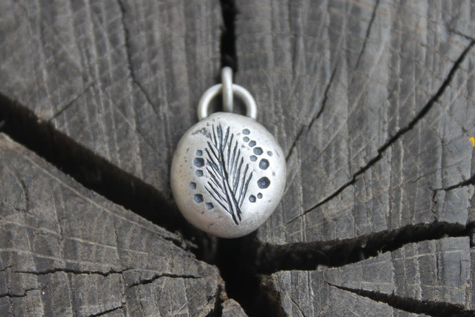 Pine Leaf on silver river rock charm