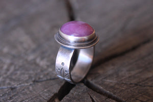 flower of Life ring on band with pink quartz stone