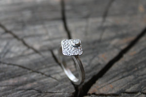 moonstone and sterling silver square ring