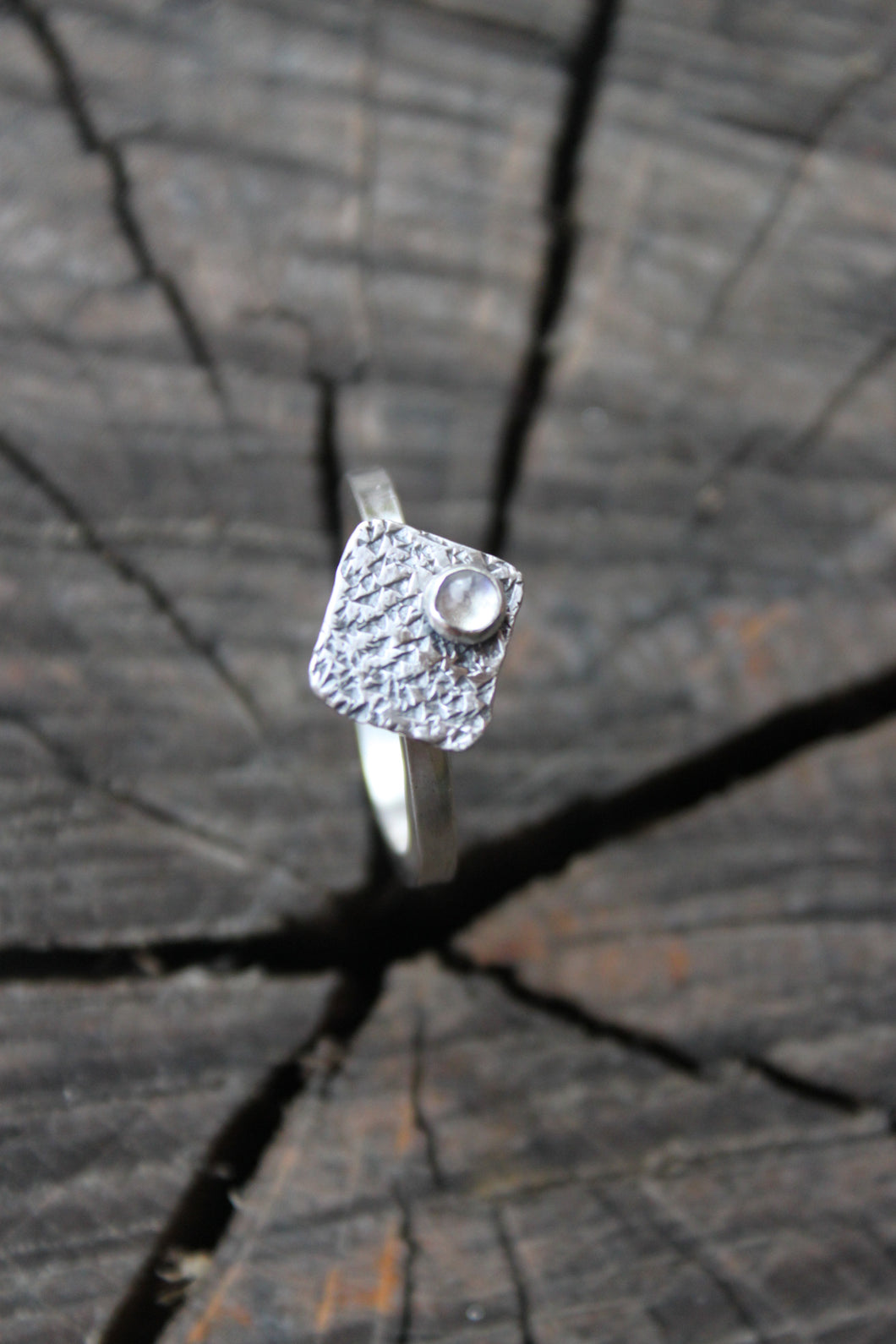 Textured Square Ring with Rainbow Moonstone - Peles Song Jewelry