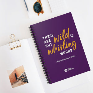 Wild and Whirling Words Spiral Notebook - Ruled Line purple