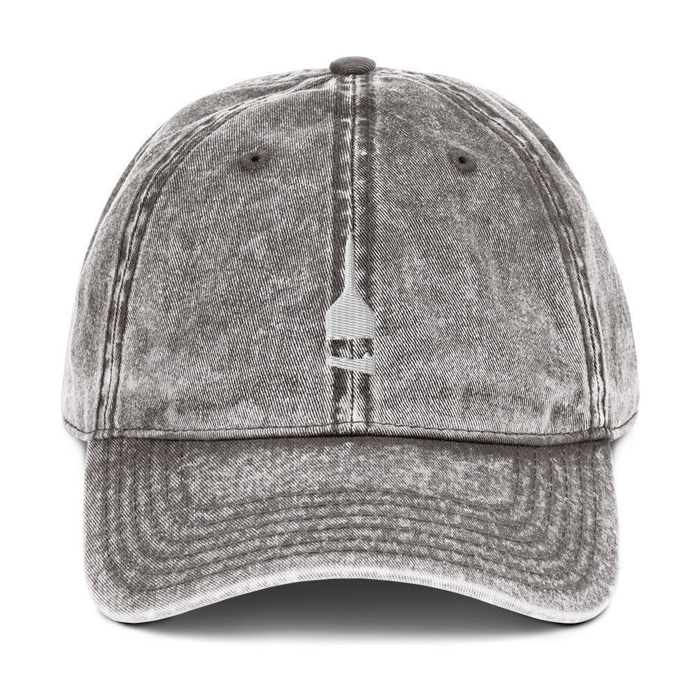 Blind Acrylic Logo Vintage Dad Hat In Charcoal Gray