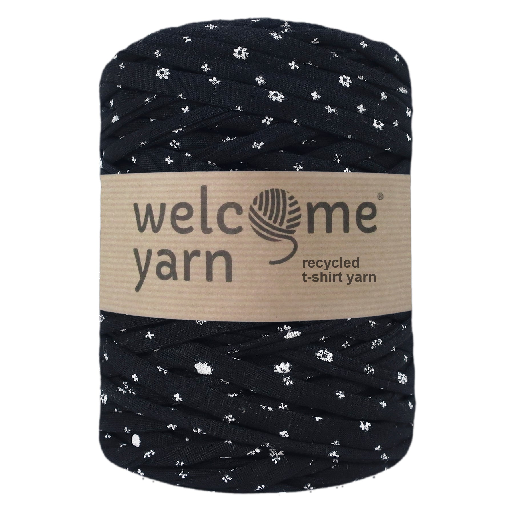 T-shirt Yarn Black with Flowers