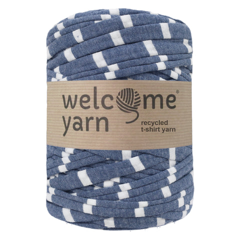 T-shirt Yarn Blue with White Stripes