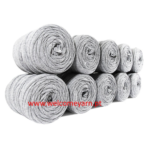 Mini T-shirt Yarn Bobbins Pack 10x - Mottled Grey