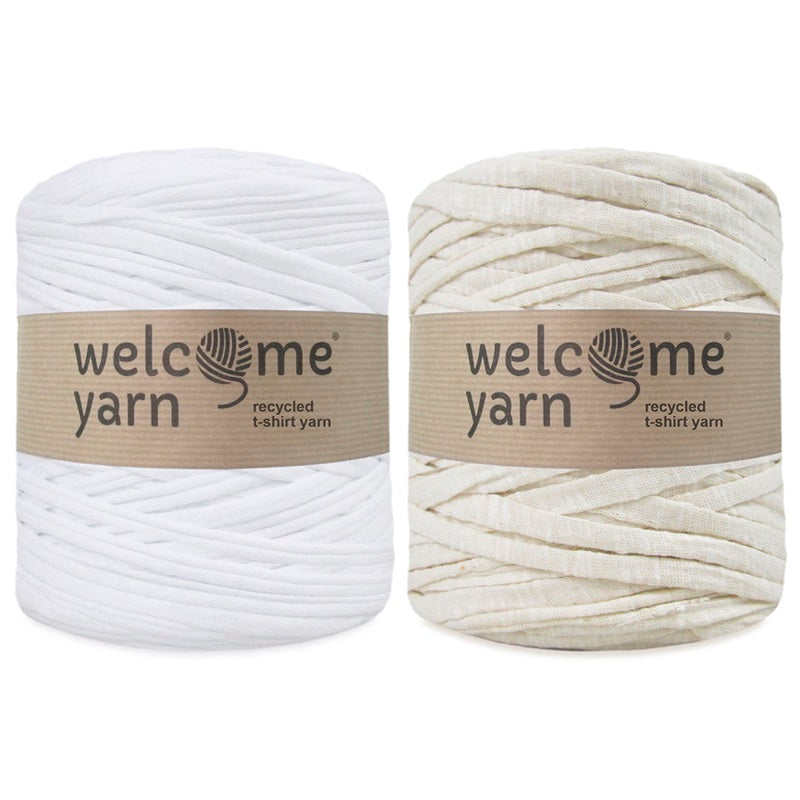 T-shirt Yarn Natural and White