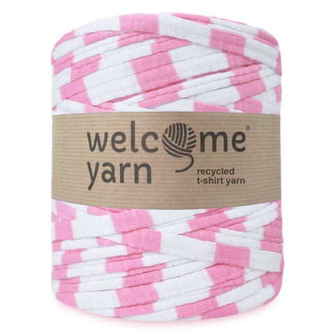 T-shirt Yarn Pink and White Stripes