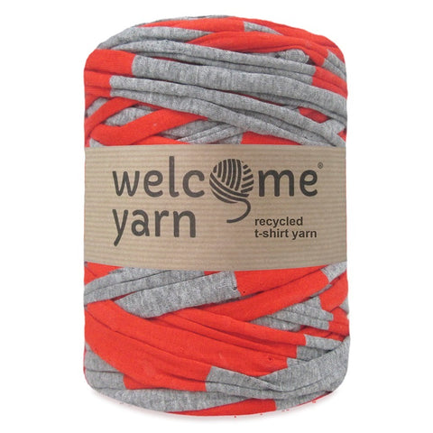 T-shirt Yarn Grey Orange Stripes