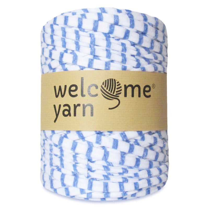 T-shirt Yarn Blue White Stripes