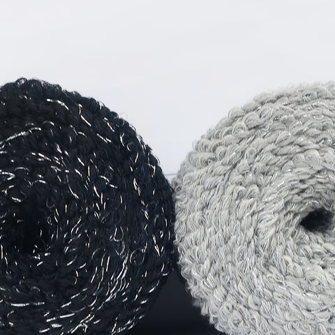 Sparkle Scruffy Yarn Black and Grey Pack2x