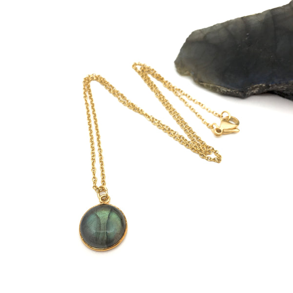 "Collier ""Happī"" Labradorite ronde (12mm)"
