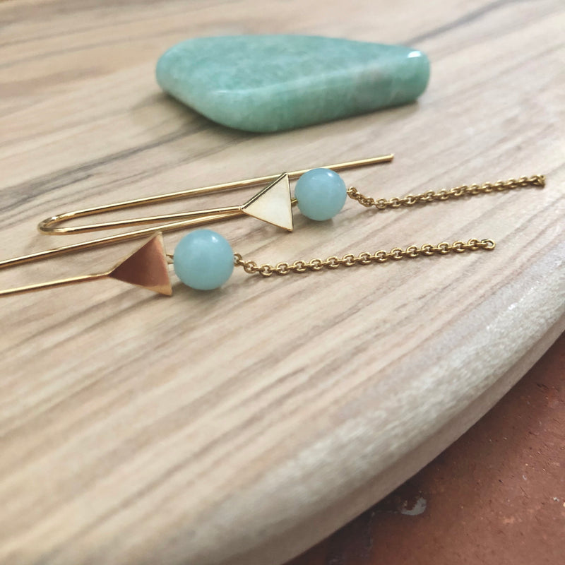 "Boucles ""Arrōw"" Amazonite"