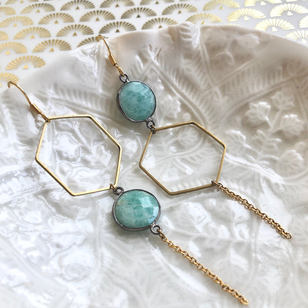 "Boucles ""Apīs"" Amazonite"